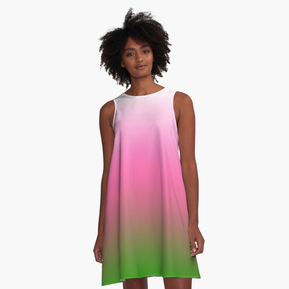 Ombre White to Pink to Green A-Line Dress