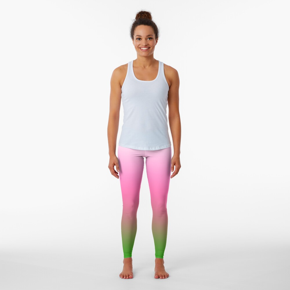 Ombre White to Pink to Green Leggings