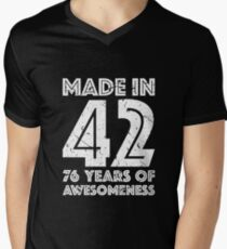 76th Birthday Gift Adult Age 76 Year Old Men Women Mens V Neck T