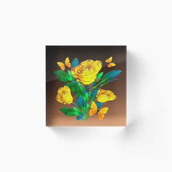 SHADED BROWN YELLOW ROSES & BUTTERFLIES ART Acrylic Block