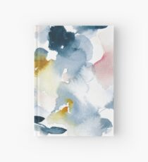Introspective indigo watercolor abstract with hints of gold and pink Hardcover Journal