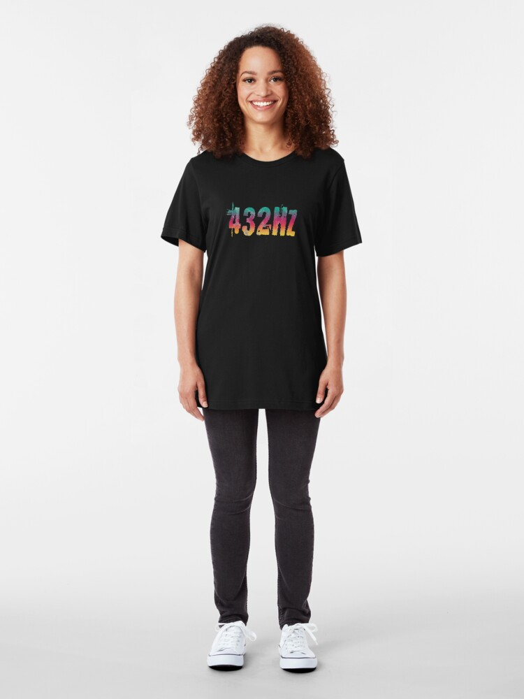 Alternate view of 432Hz Music Frequency 432 Hertz Tuning Color Style Graphic Hertz Print Slim Fit T-Shirt