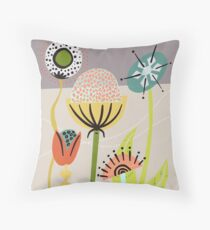 Mid Century Flowers Throw Pillow