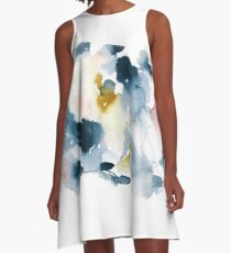 Introspective indigo watercolor abstract with hints of gold and pink A-Line Dress
