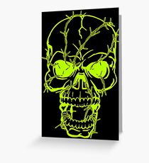Barbed Wire Skull Head Greeting Card