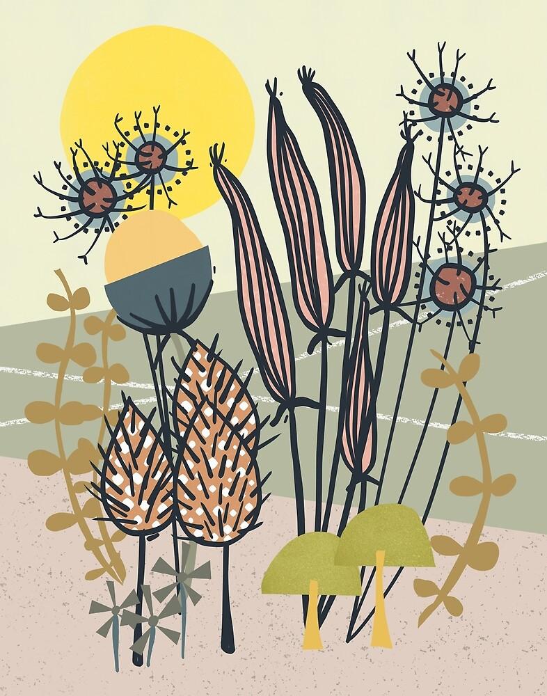 Vintage Garden Sunrise by BirdsongPrints