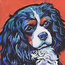 «Perro cavalier King Charles Spaniel divertido brillante colorido Pop Art» de bentnotbroken11