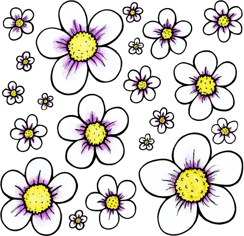 Daisy Flower Pattern By Rebecca Cother Redbubble