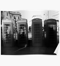 Telephone booths in London Poster