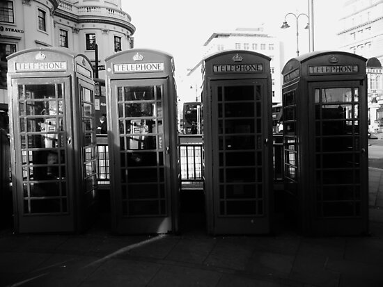 Telephone booths in London by MadeleineKyger
