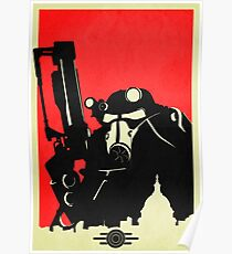 Fallout Brotherhood of Steel Contrast Fan Art Poster Poster