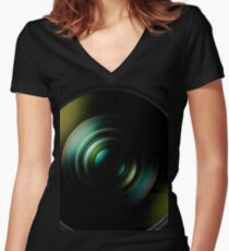 Nikon DSLR Camer Nikkor Lens Women's Fitted V-Neck T-Shirt