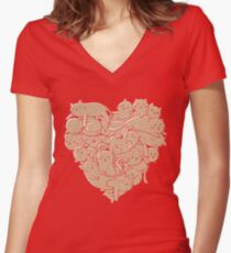 I Love Cats Heart Women's Fitted V-Neck T-Shirt