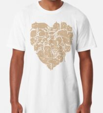 Camiseta larga Amo el corazón de los gatos