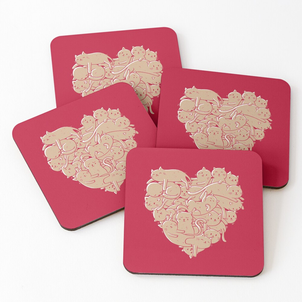 I Love Cats Heart Coasters (Set of 4)