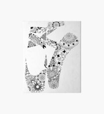 Ballet Pointe Shoes Floral Paisley Mandala Art Board Print