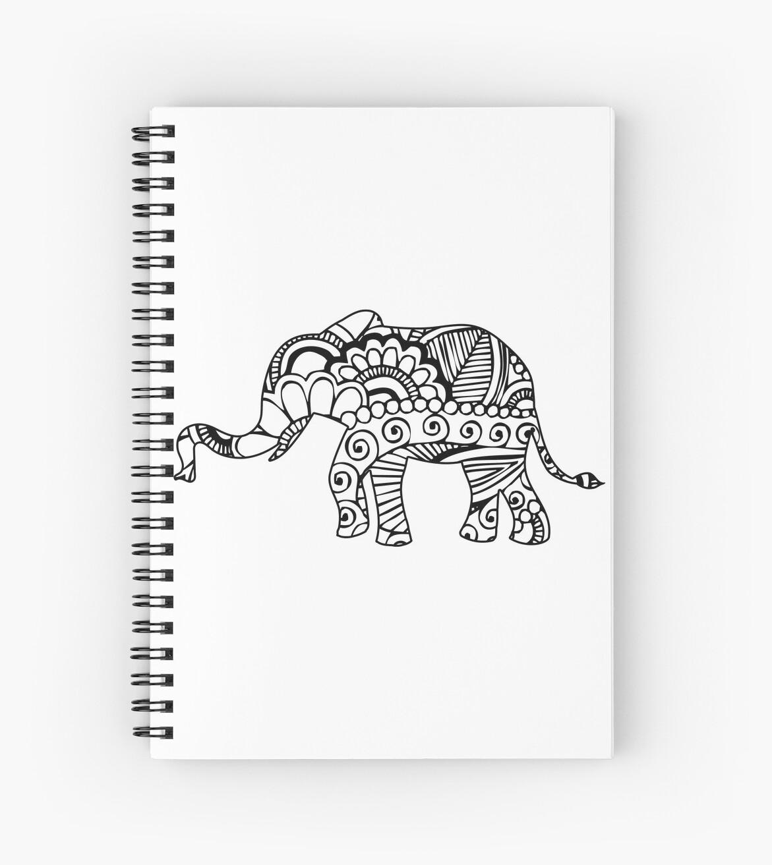 Henna Elephant 1 Spiral Notebooks By Rickybarnard Redbubble