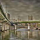 Dojima bridges by Christophe Mespoulede