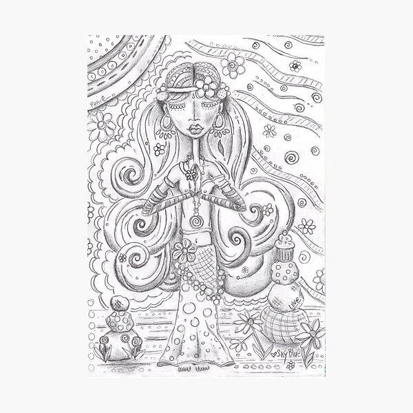Yoga Gypsy Sketch – Whimsical Folk Art Girl in Namaste Pose Photographic Print