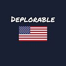 Deplorable Hand-Printed Above American Flag Dark Color by TinyStarAmerica