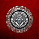 3rd Degree Mason Silver Jewel - Master Mason Square and Compasses over Red Velvet by Serge Averbukh