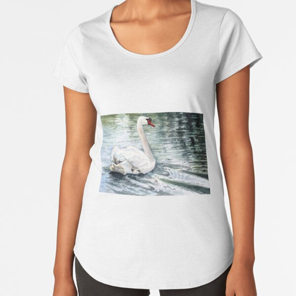 Gliding Gracefully, a Beautiful White Swan Watercolor so Peaceful Premium Scoop T-Shirt