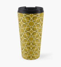 Moroccan seamless pattern, Morocco. Patchwork mosaic with traditional folk geometric ornament black gold. Travel Mug