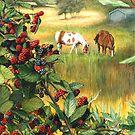 Watercolor Landscape Horse Ranch Wild Blackberries Abundance Art by Jillian Crider