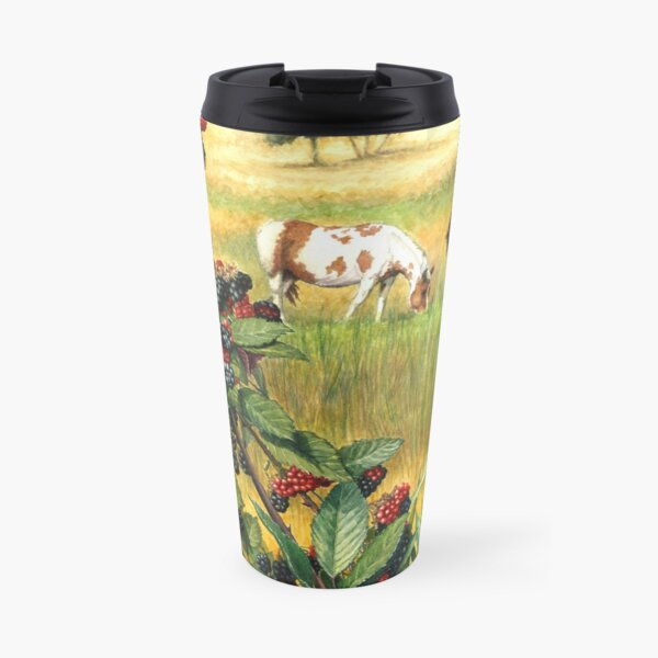 Watercolor Landscape Horse Ranch Wild Blackberries Abundance Art Travel Mug