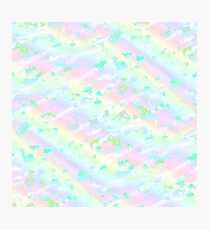 Light colors Rainbow pattern soft fluff flying clouds pastel stripes Photographic Print
