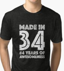 84th Birthday Gift Adult Age 84 Year Old Men Women Tri Blend T Shirt