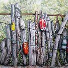 Idle Buoys Marine Watercolor Art Fishing Tackle Beach Theme by Jillian Crider