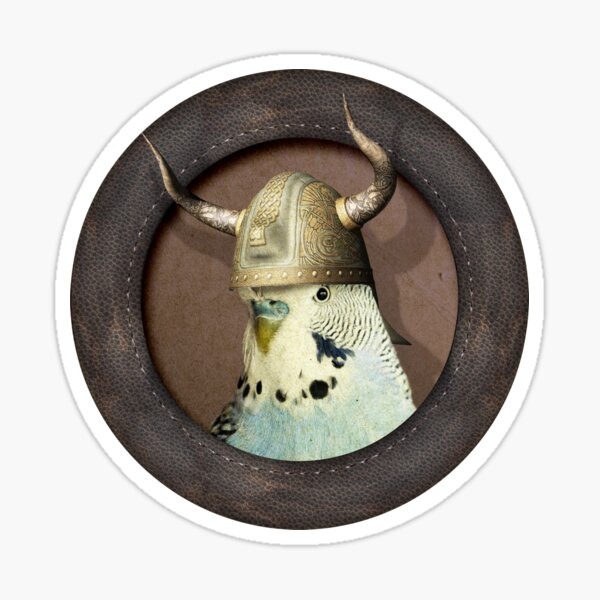 Blue Budgie in Viking Hat Sticker