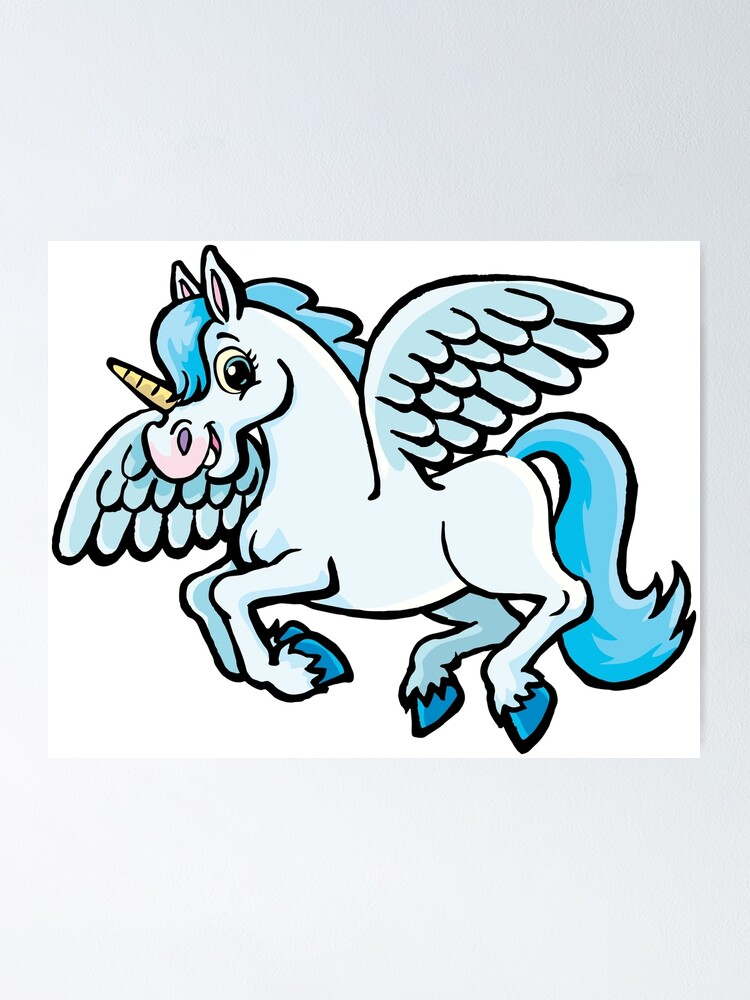 Alternate view of unicorn with wings Poster