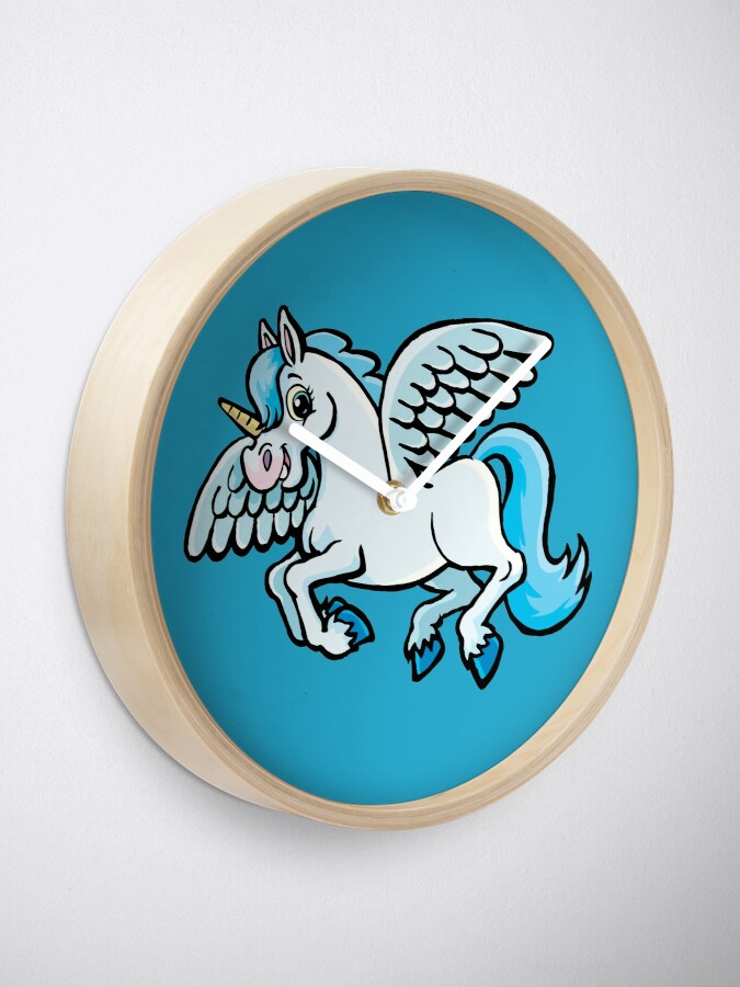 Alternate view of unicorn with wings Clock
