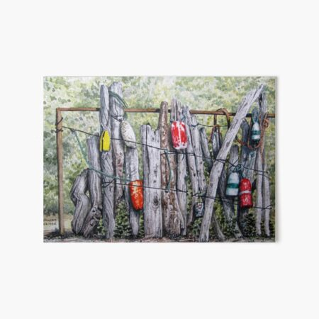 Idle Buoys Marine Watercolor Art Fishing Tackle Beach Theme Art Board Print