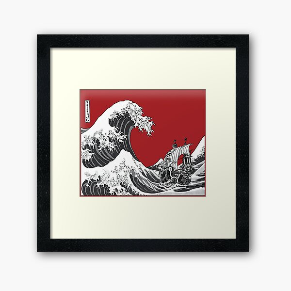 RED The Great Wave  Framed Art Print