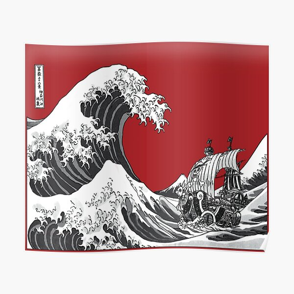 RED The Great Wave  Poster