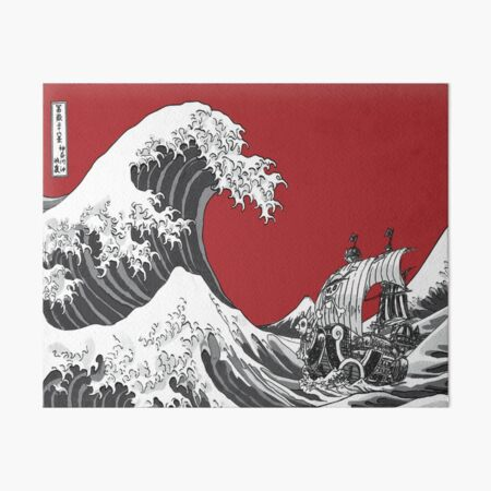 RED The Great Wave  Art Board Print