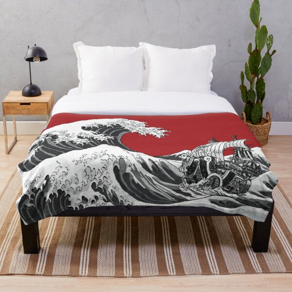 RED The Great Wave  Throw Blanket