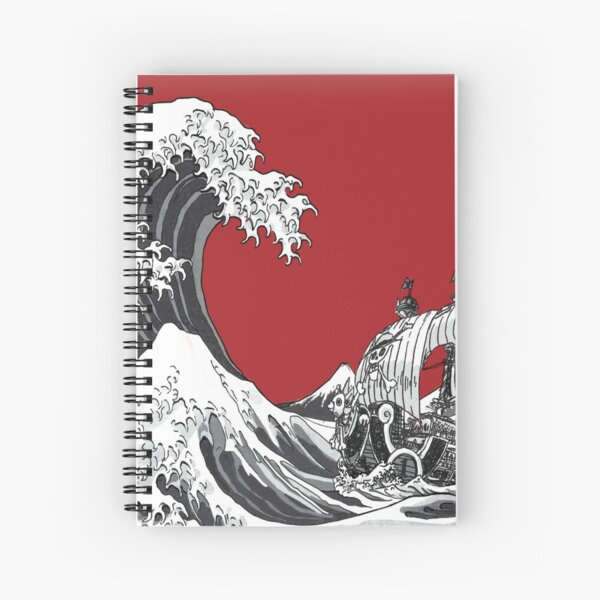 RED The Great Wave  Spiral Notebook