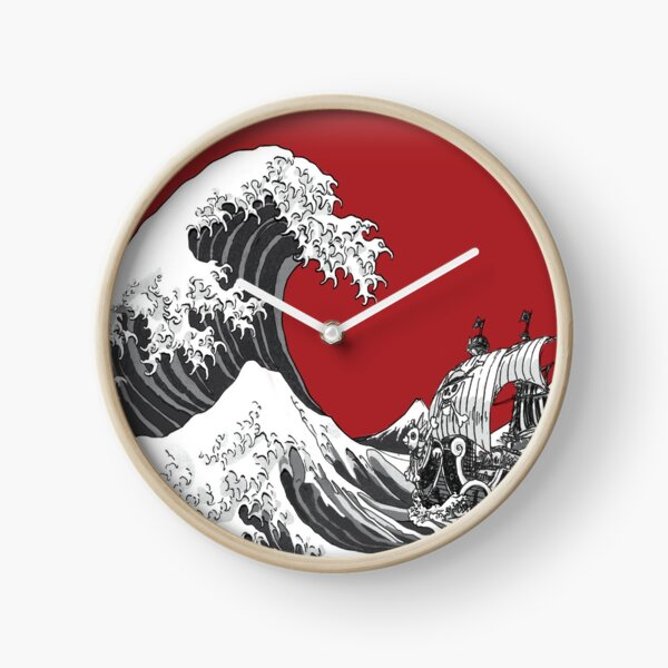 RED The Great Wave  Clock
