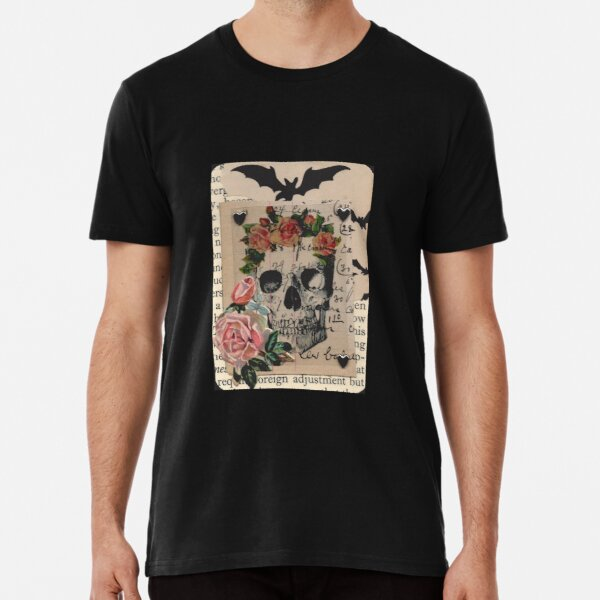 Halloween Collage Skull Roses Bats and Heart Studs Premium T-Shirt