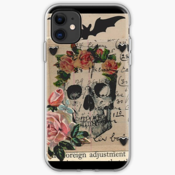 Halloween Collage Skull Roses Bats and Heart Studs iPhone Soft Case