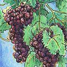 Mixed Media Art Red Purple Grapes on Vine by Jillian Crider