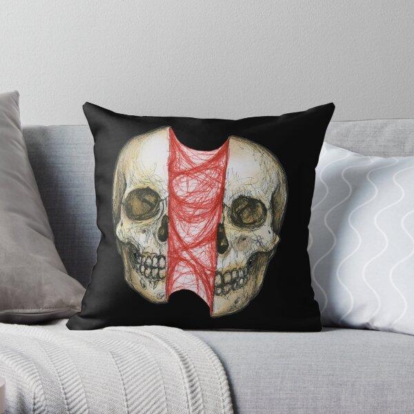 Skull Sinew Vertical Spli Throw Pillow
