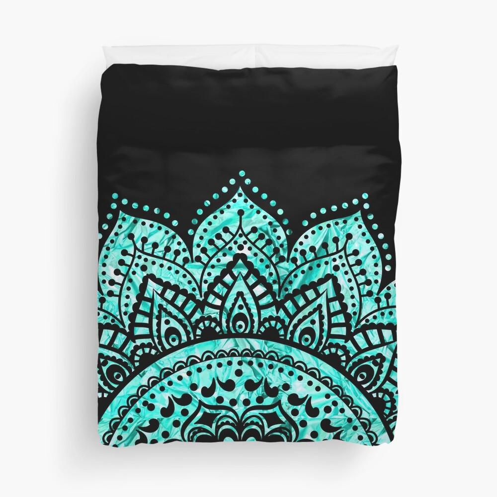 Black and Teal mandala  Duvet Cover
