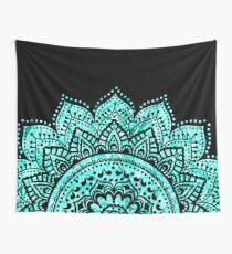 Black and Teal mandala  Wall Tapestry