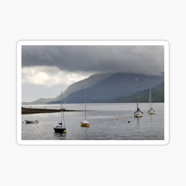 Boats moored in the harbour at Fort William, Scotland Sticker