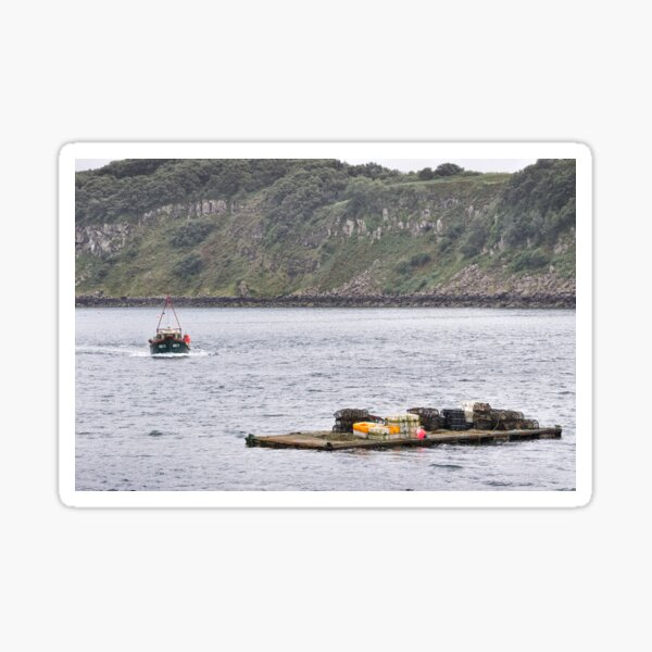 Picking up the pots - Portree Harbour, Isle of Skye Sticker
